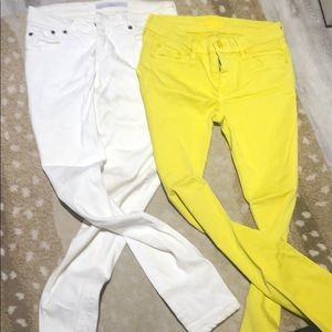 Victoria Beckham white jeans and mother neon jeans